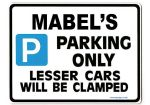 MABEL'S Personalised Parking Sign Gift | Unique Car Present for Her |  Size Large - Metal faced